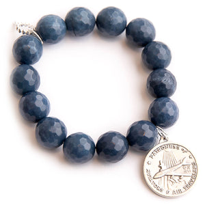 Washed denim agate paired with Our Lady of Loretto