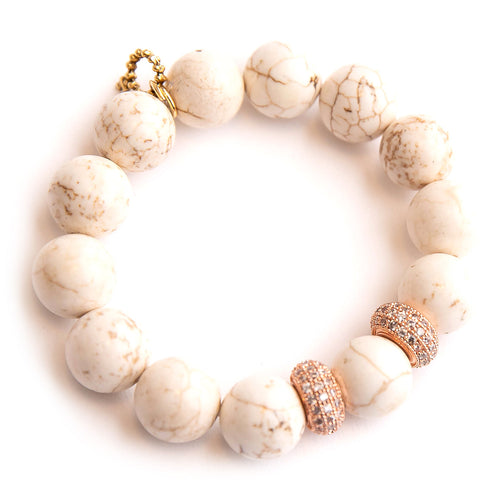 Creamy white howlite paired with rose gold micropave rhondelles