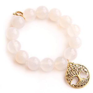 White translucent jade paired with bronze open vein tree of life
