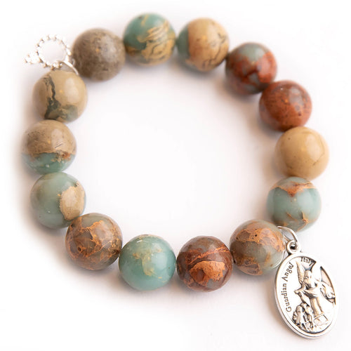 Aqua terra jasper paired with an silver oval guardian angel