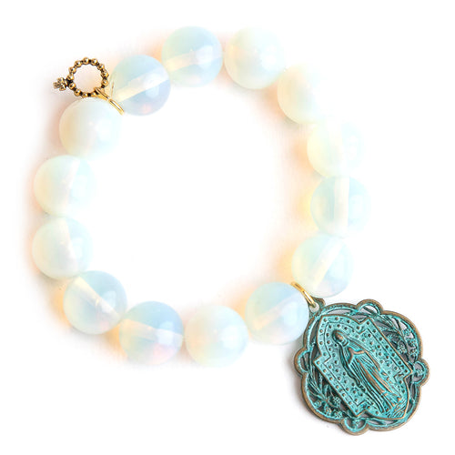 Opalite paired with a patina Queen of Heaven medal