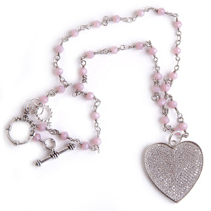 "18"" Marshmellow Agate Rosary Chain Necklace with Pave Heart"