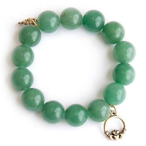 Green Aventurine paired with a brass claddagh