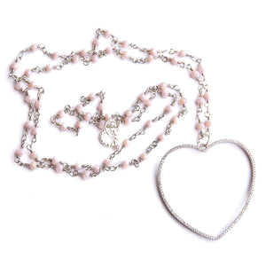 Faceted Marshmallow agate rosary chain paired with a silver pave heart pendant