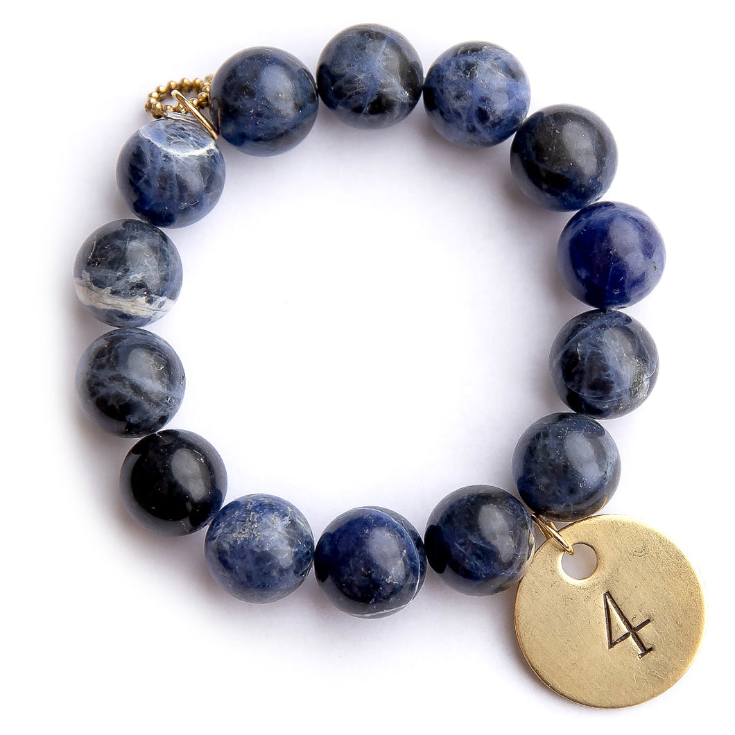 Dumortierite paired with a brass hand stamped #4