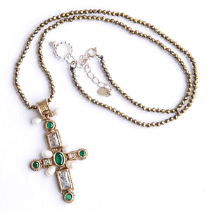 Pyrite Beaded Necklace featuring Sterling Silver with Gold Plating Cross Pendant