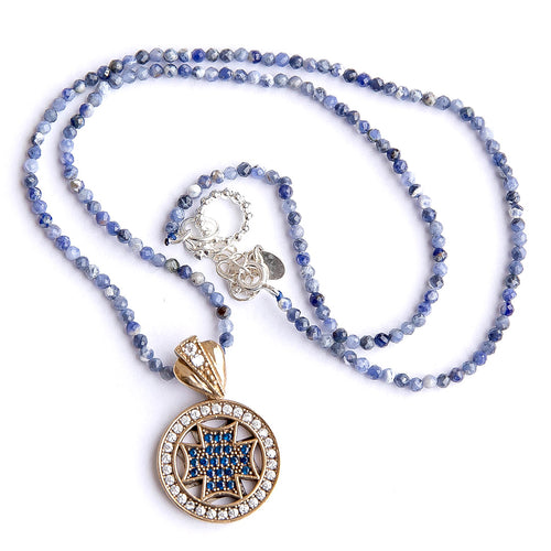 Dumortierite Beaded Necklace featuring Sterling Silver with Gold Plating Cross Pendant