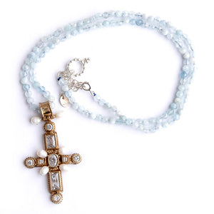 Aquamarine Beaded Necklace featuring Sterling Silver with Gold Plating Cross Pendant