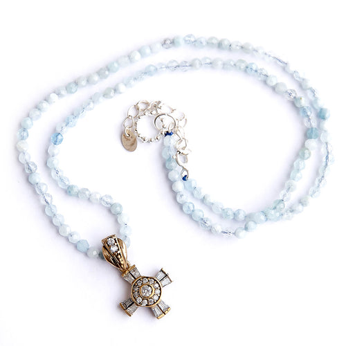 Aquamarine Beaded Necklace featuring Sterling Silver with Gold Plating Petite Cross Pendant