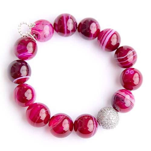 Magenta striped agate paired with a clear micropave