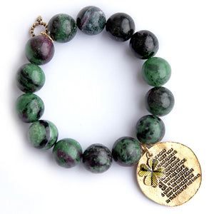 O'Malley Jasper paired with an exclusively cast Irish Blessing medal and enameled shamrock