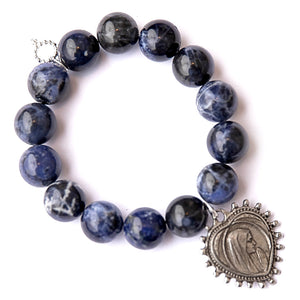 Dumortierite paired with an featuring an exclusively cast heart shaped Blessed Mother medal
