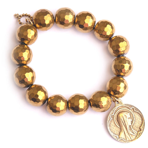 Faceted gold hematite paired with a bronze Queen of Heaven medal