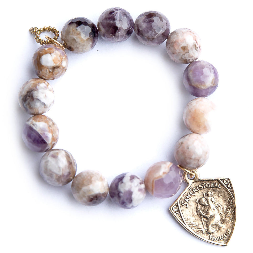 Faceted amethyst agate paired with an exclusively cast Saint Christopher medal
