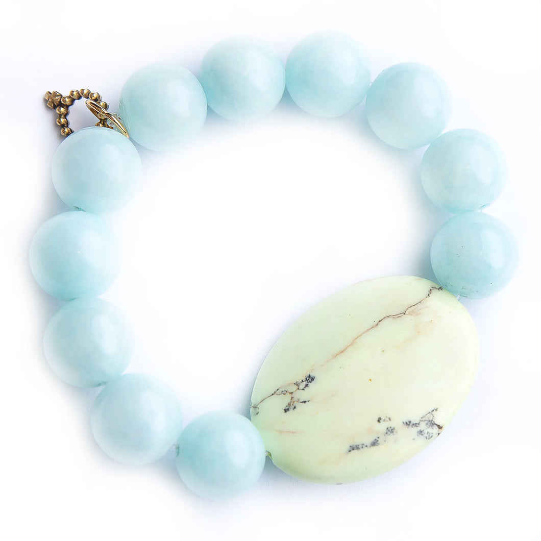 Aqua jade paired with a citrus howlite slice