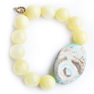 Lemonade jade paired with a tradewinds agate slice