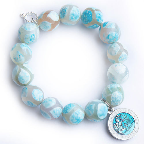 Powder blue gingham agate paired with a blue enameled Saint Christopher