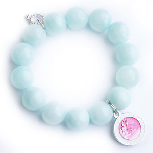 Aqua jade paired with a pink enameled Saint Christopher