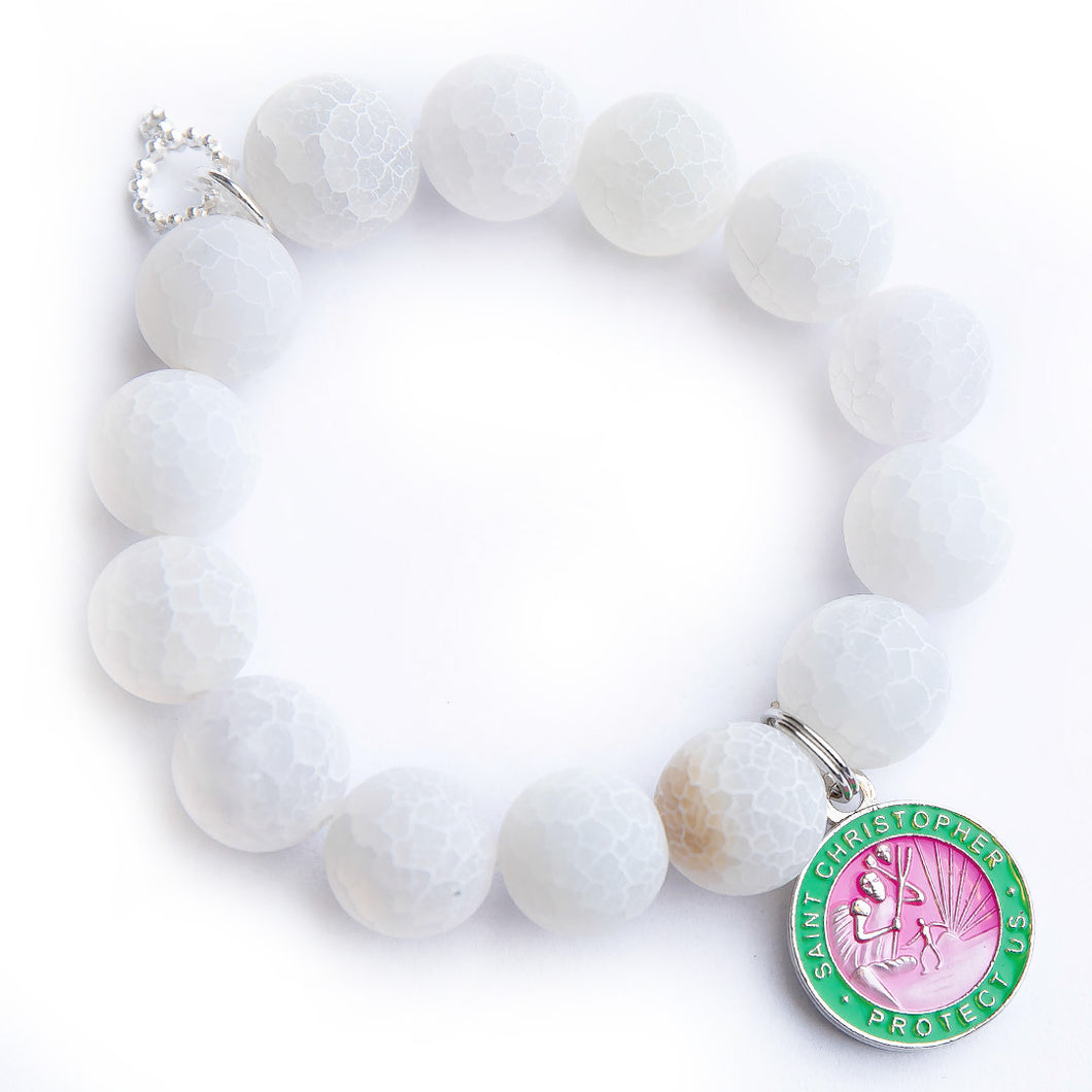 Frosted white lace agate paired with a pink & green enameled Saint Christopher