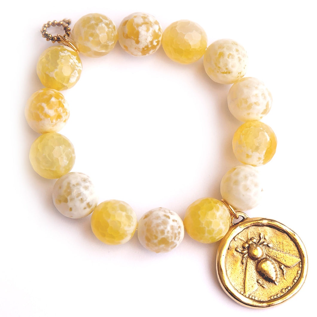 Limoncello agate paired with an exclusively cast brushed bronze queen bee