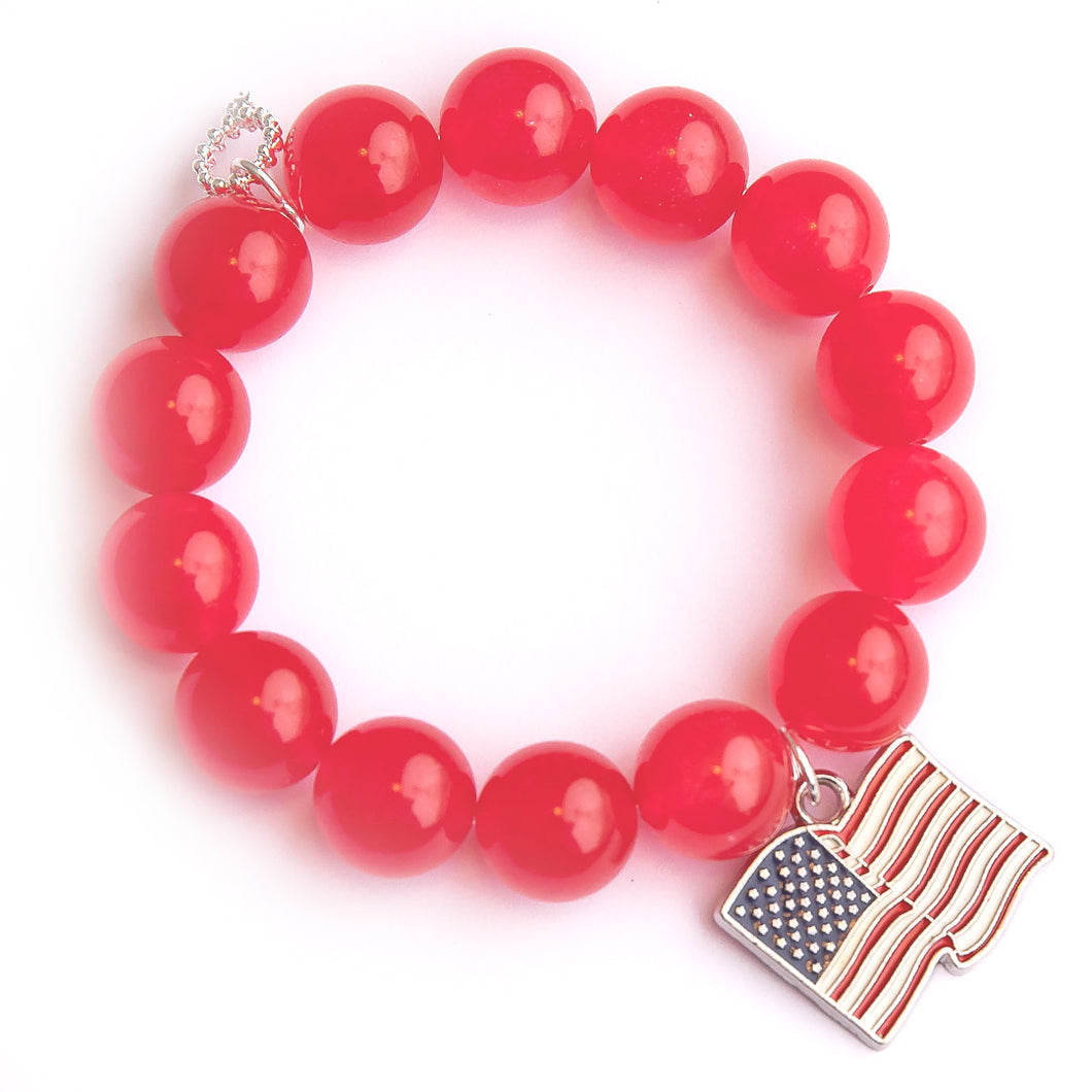Cherry jade paired with an American flag medal