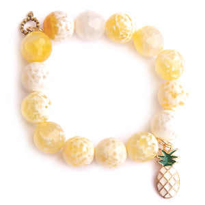 Limoncello agate paired with a enameled pineapple