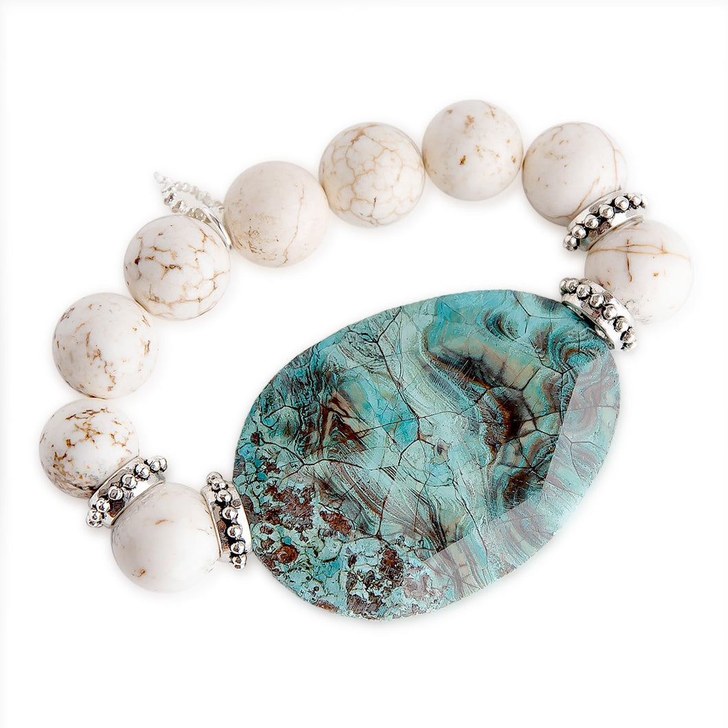White Howlite with Large Turquoise Agate Statement Slice