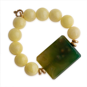 Lemonade Jade with Large Fern Green Agate Rectangle Statement Slice