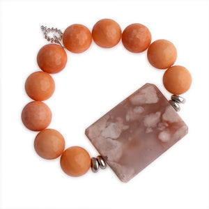 Faceted Tangerine Agate with Large Rectangle Flower Agate Statement Slice