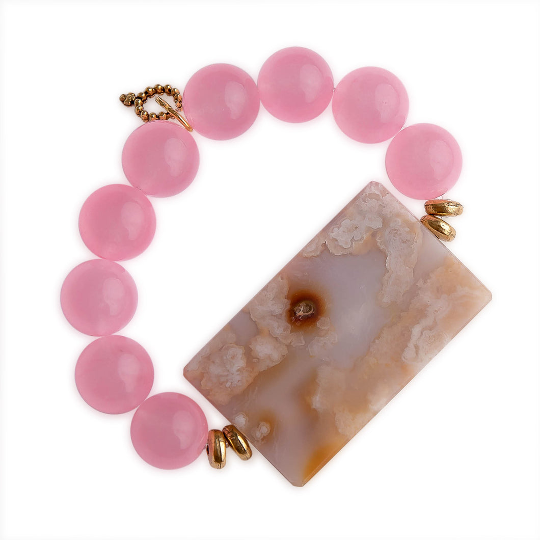 Rose Quartz with Large Rectangle Flower Agate Statement Slice