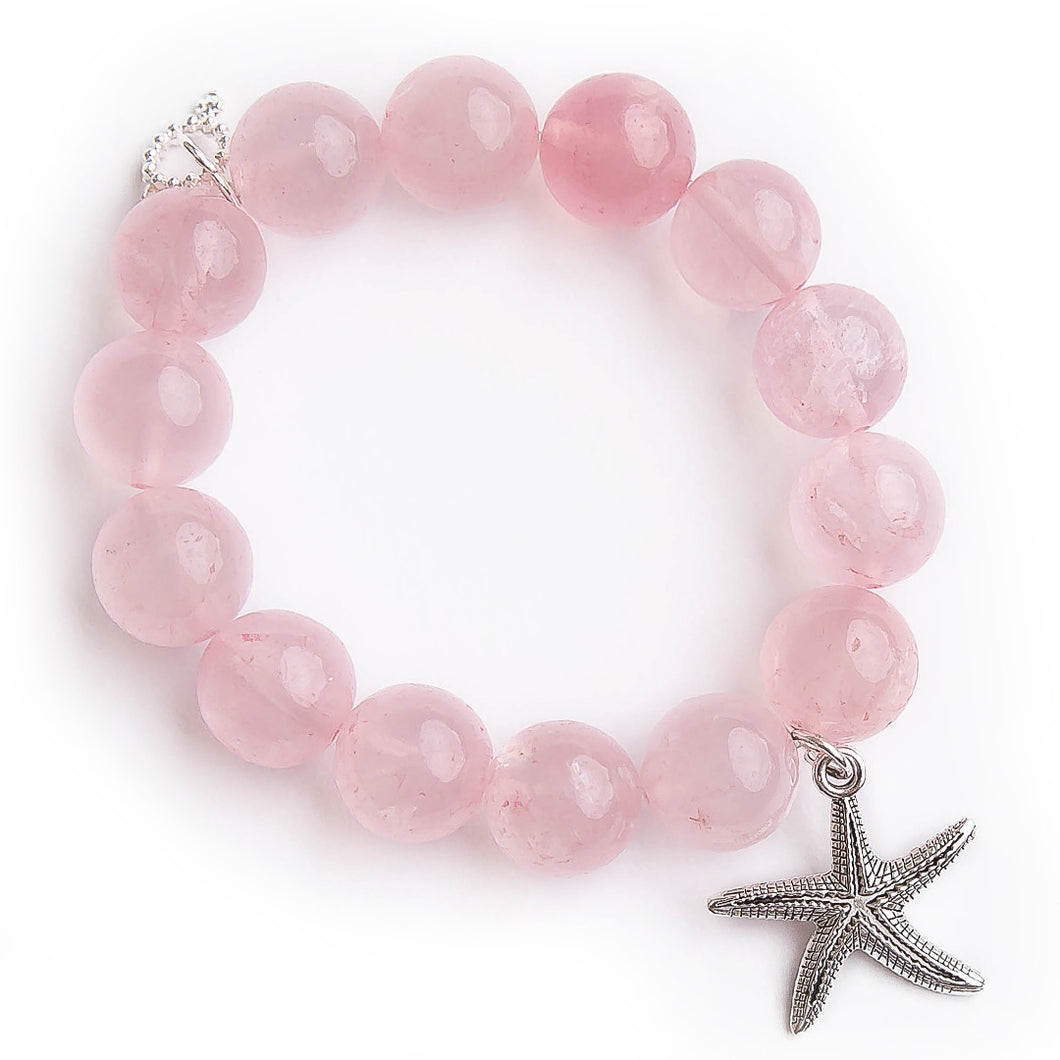 Tea Rose quartz with silver starfish