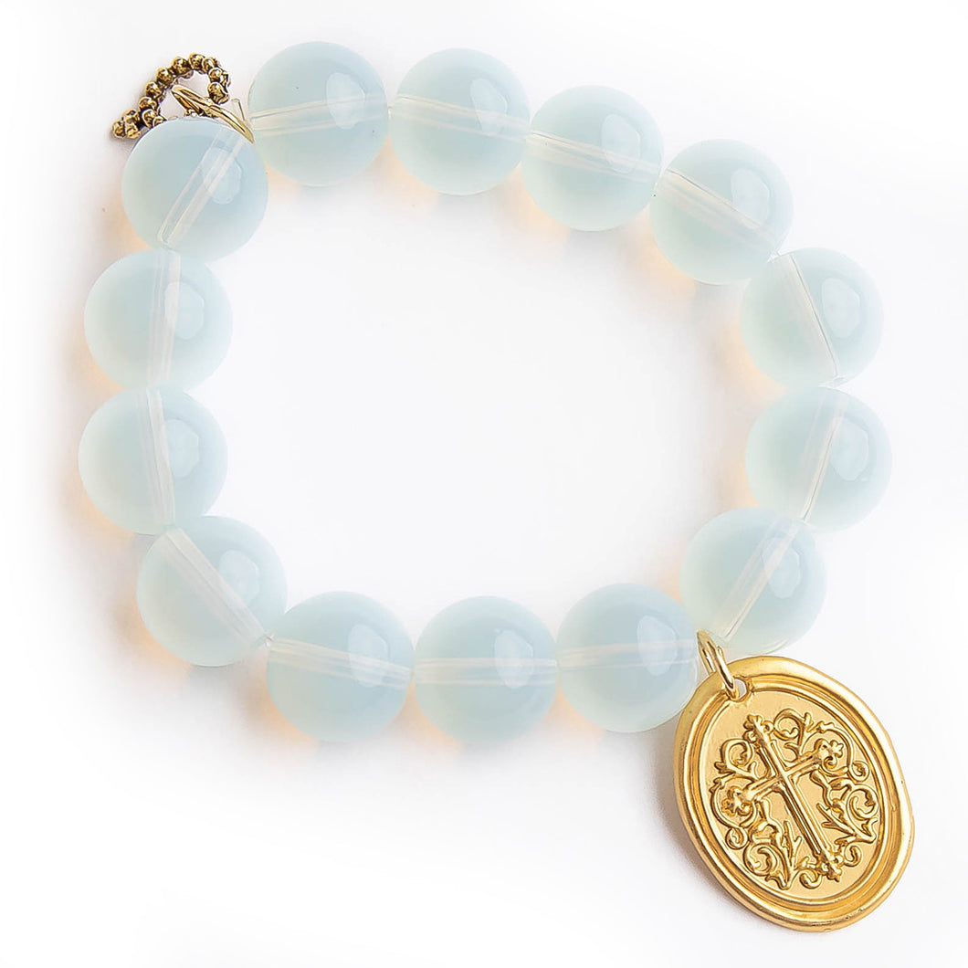 Opalite with oval brass cross