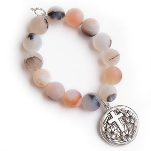 Matte cobblestone agate with silver sliding Lord's prayer locket