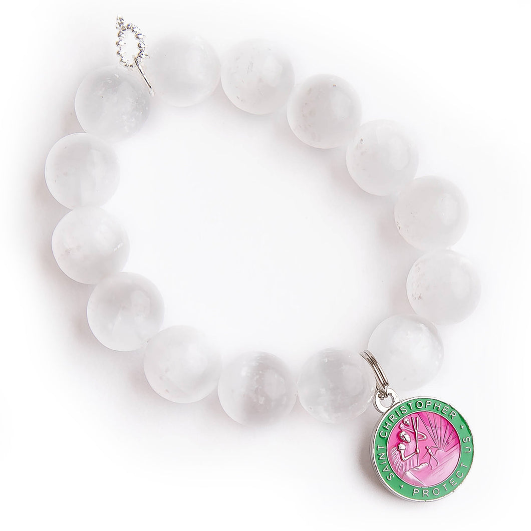 White calcite with pink & green enameled Saint Christopher
