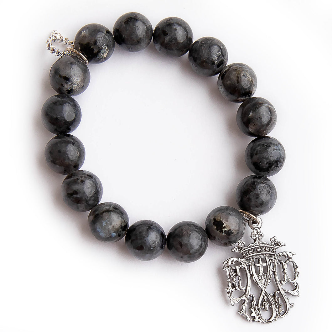 Charcoal grey jasper with silver Notre Dame Cathedral medal