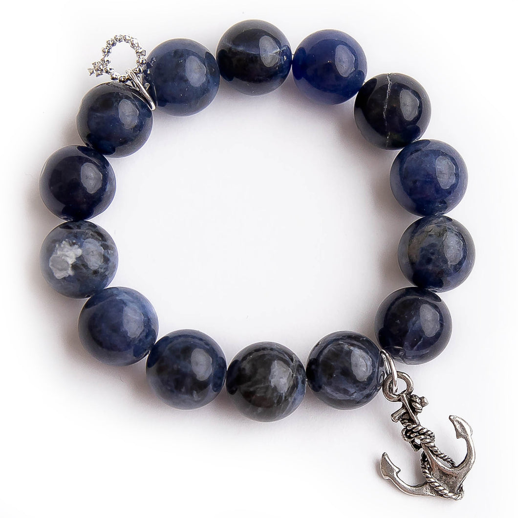 Dumortierite paired with a silver anchor