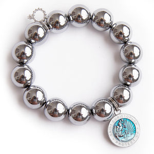 Silver hematite with blue enameled Saint Chistopher