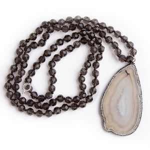 Hand tied Smokey quartz gemstone necklace with a pave surround agate slice