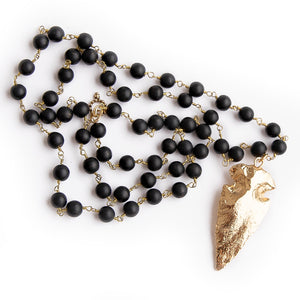 Matte black onyx rosary chain with brass arrowhead