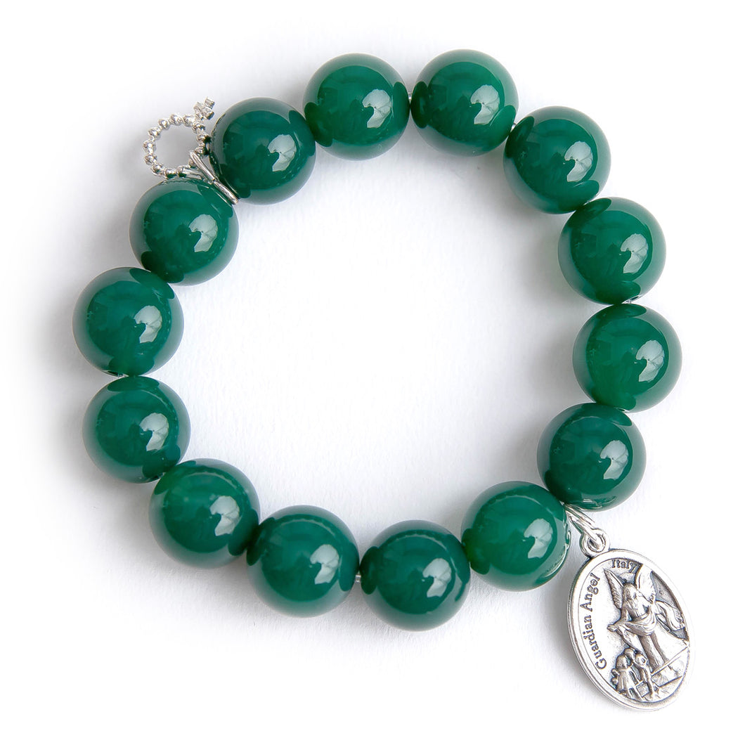 Dark green jade paired with a silver guardian angel medal