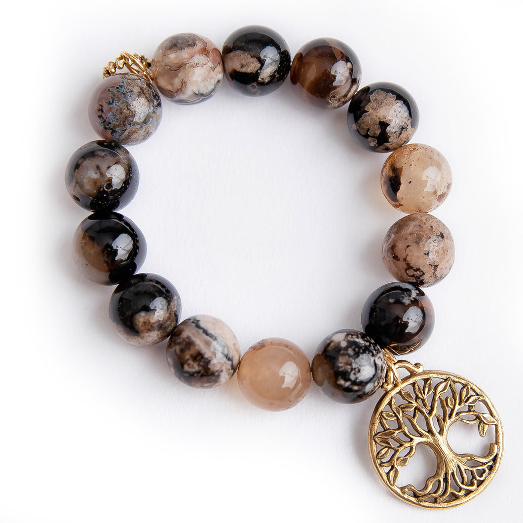 Espresso agate paired with a large brass open tree of life