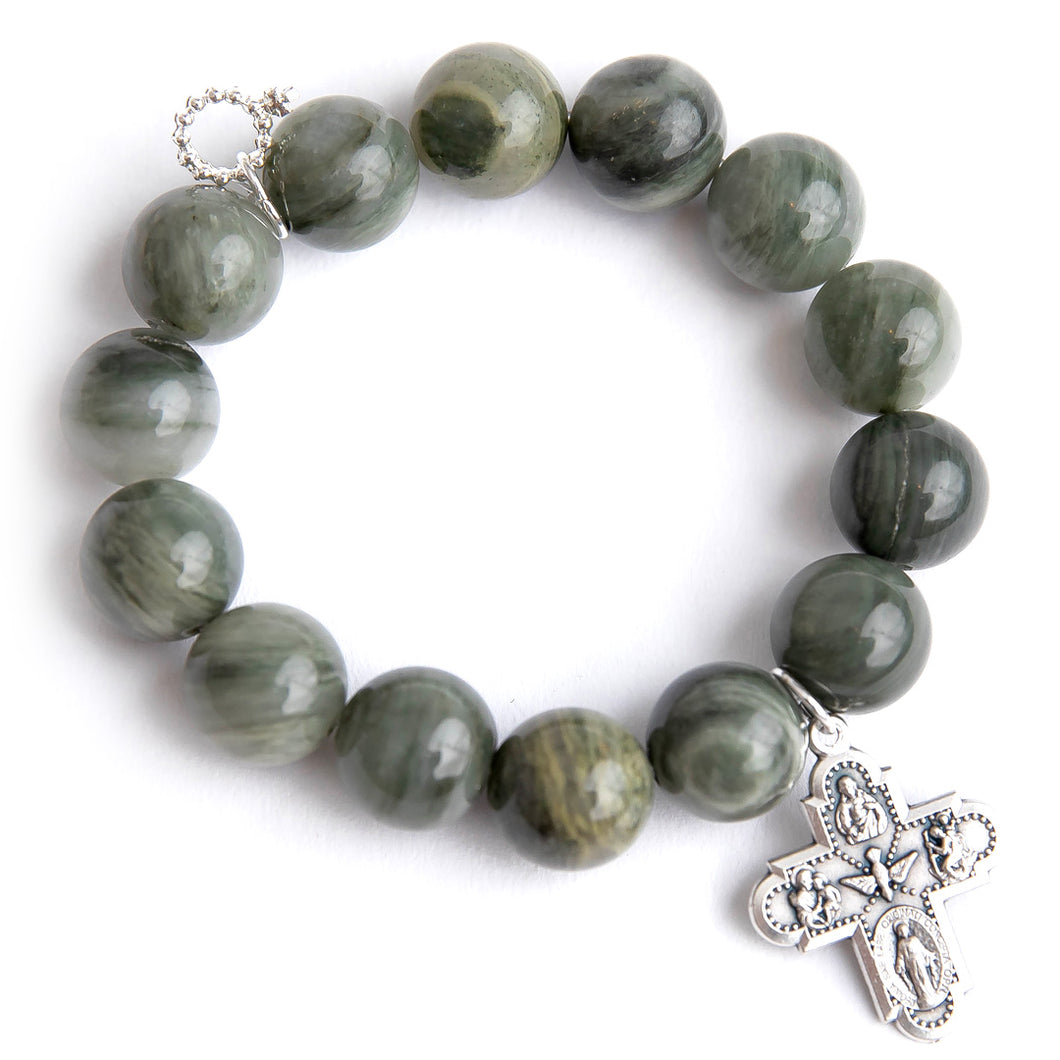 Olive branch agate with silver 5 way cross