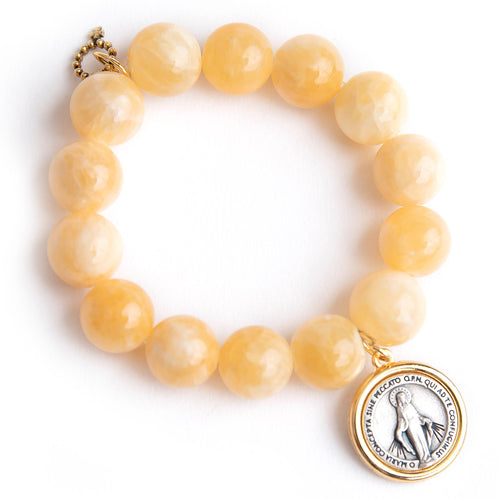 Honeysuckle agate paired with a two toned Blessed Mother medal