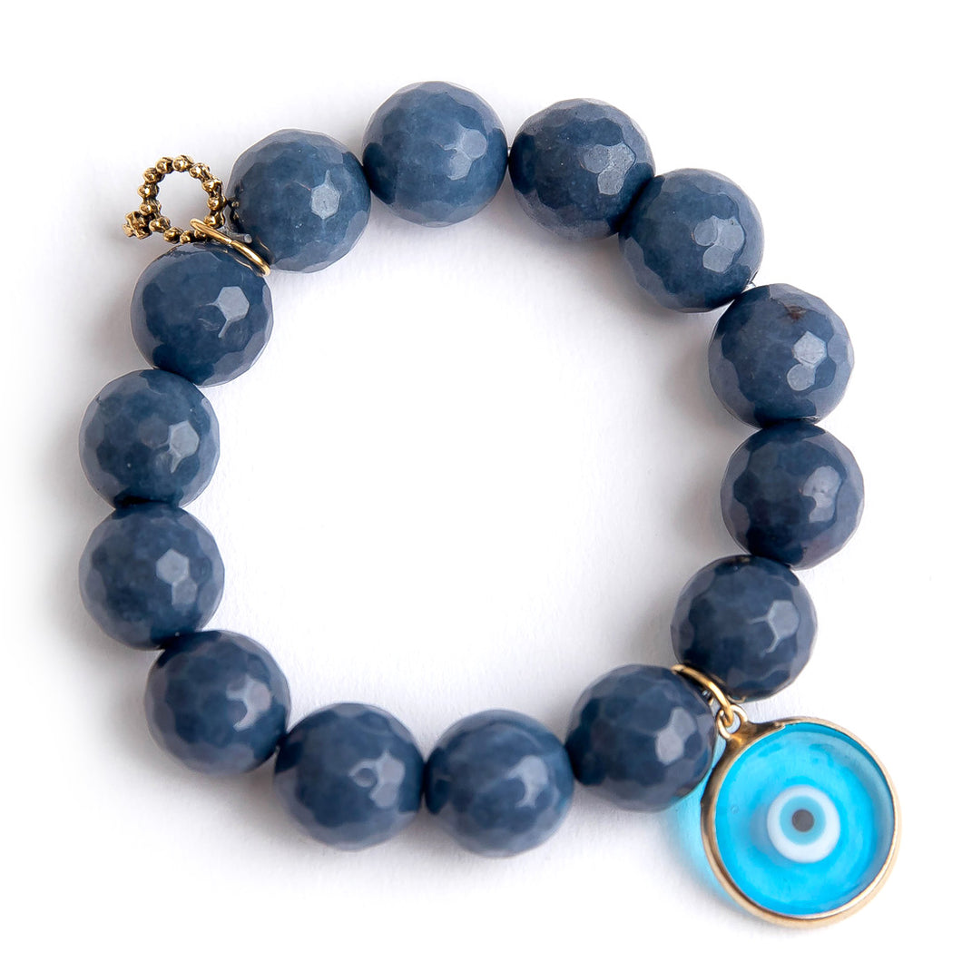 Washed denim agate paired with a light blue glass evil eye