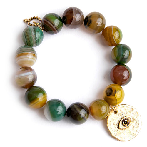 Chartreuse agate paired with a bronze hammered evil eye