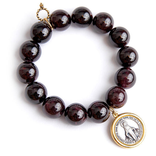 Garnet paired with a two toned Blessed Mother medal