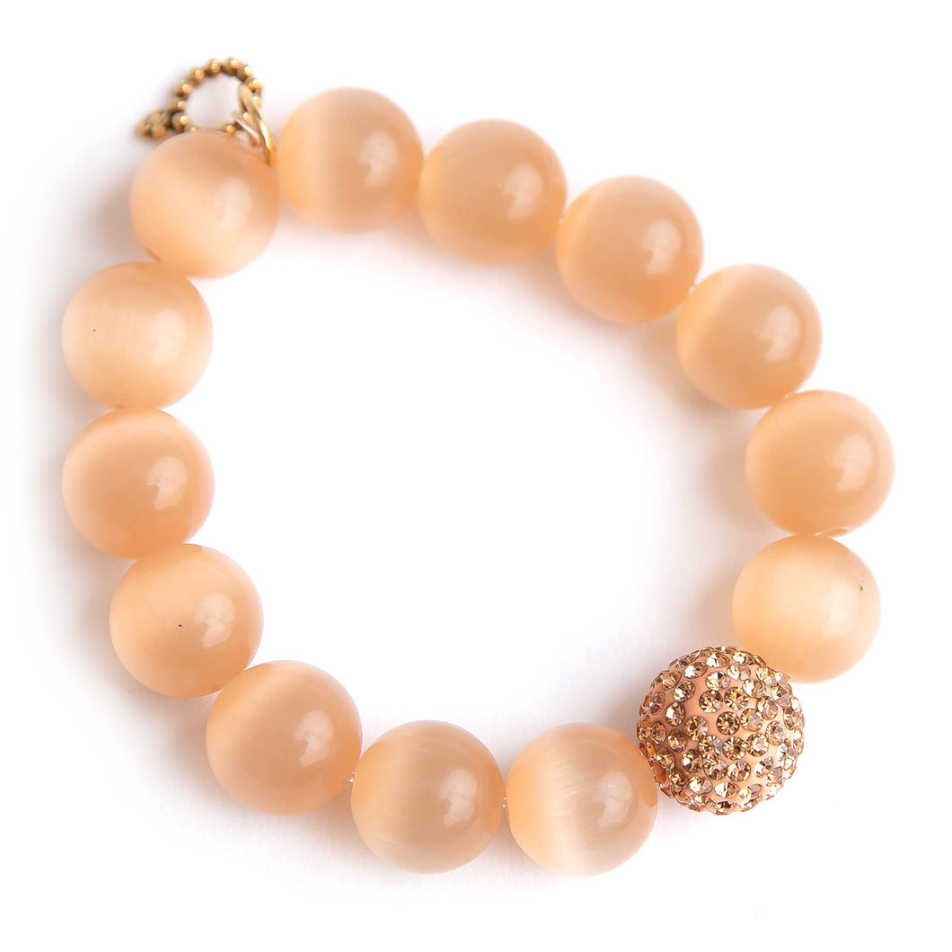 Cashmere calcite paired with a rose gold pave
