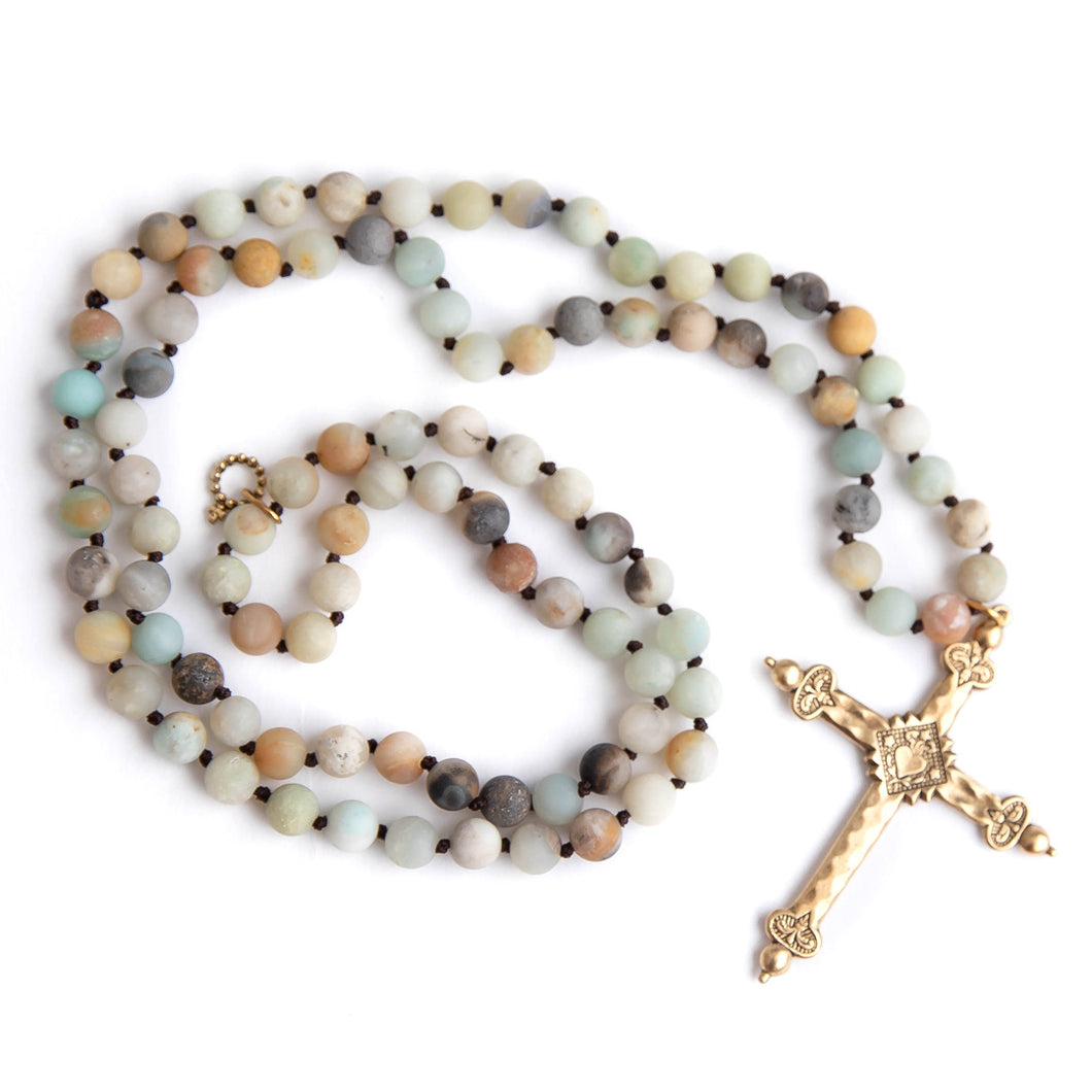 Hand tied matte amazonite gemstone necklace with brass cross
