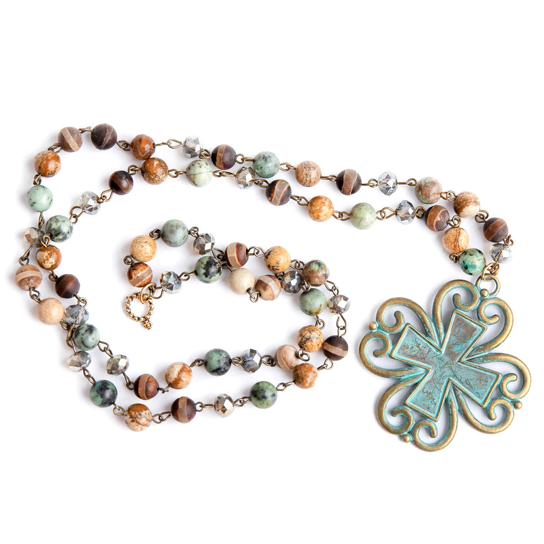 Sante Fe Rosary Chain Necklace with Patina Cross Pendant