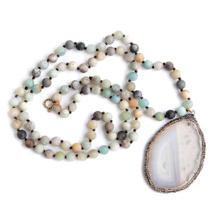 Hand tied amazonite gemstone necklace paired with a pave surround agate slice